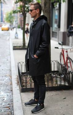 Sneakers Raincoat men Style tumblr all Black