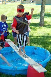 Outdoor party game walk the plank