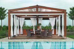pergola avec rideaux -blancs-pergola-bois-moderne-salon-jardin-résine-piscine