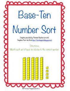 Sorting cards with base-ten blocks - FREEBIE!
