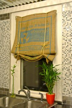 Burlap Coffee Bag Window Treatment | Flickr - Photo Sharing!