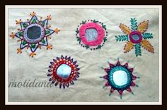 Art in Beads and Threads and more.: The Beauty of Indian Embroidery - Shisha Embroidery or Mirrorwork ! Hand Work Embroidery, Simple Embroidery, Types Of Embroidery, Indian Embroidery, Hand Embroidery Designs, Embroidery Thread, Embroidery Applique, Beaded Embroidery, Embroidery Patterns