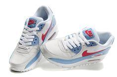 hot sales fb956 da78d Nike Air Max 90 femmes Blanc Bleu Rouge