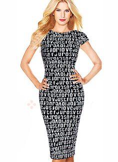 Kleider - $50.00 - Baumwollmischungen Alphabet kurze Hülse Knielang Elegant Kleider (01955090944)