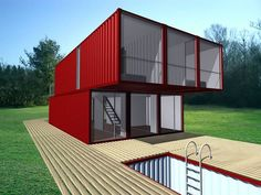 triple-wide shipping container concept home with shipping container pool