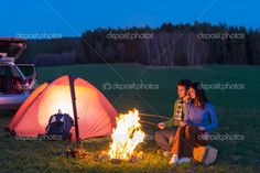 depositphotos_10235449-Tent-camping-car-couple-sitting-by-bonfire.jpg (1023×681)
