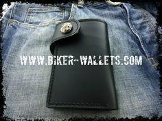 """Glock Double"" 6"" Custom Handmade Leather Men's Biker Wallet"