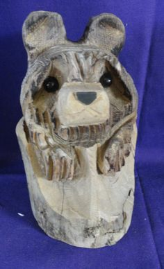 Vintage Hand Carved Wooden Bear by tennesseehills on Etsy, $39.00