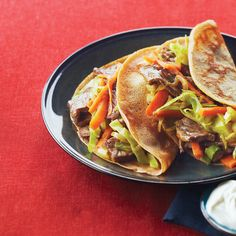 Mongolian Beef Crepes with Spiced Yogurt