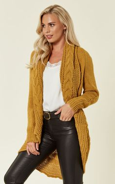 e8df3f17502e Chunky Pleat Long Cardigan in Mustard Yellow by Love