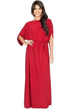 KOH KOH Plus Size Womens Long Flowy Formal Batwing Sleeve Evening Casual  Gown Maxi Dress Color 074a6a504