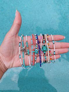 Trendy and beachy jewelry by BoardwalkBeadsCo Diy Bracelets Easy, Summer Bracelets, Bracelet Crafts, Cute Bracelets, Summer Jewelry, Ankle Bracelets, Beaded Bracelets, Hippie Bracelets, Rosary Bracelet