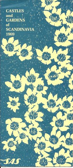 Nice stylized 60's floral on Scandinavian travel brochure, 1969.
