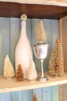 Miss Kopy Kat: DIY Glittered Bottle Brush Trees