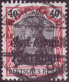 "Stamp of the German Empire - German occupation areas 1914/18 - Poland; definitive stamp: Germania-issue (war press) with black, two lines overprint in German letters ""Gen.-Gouv. / Warschau"" for the ""General-Gouvernement Warschau"", striped background"