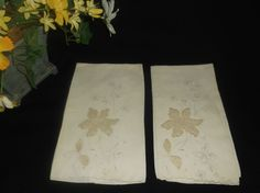 $4.99 Vintage Linen Hand Towel Floral Embroidered Embellished Handmade Antique White  #unknown