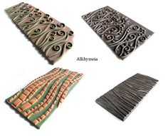 polymer clay texture make your Stamp Polymer Clay Kunst, Polymer Clay Tools, Fimo Clay, Polymer Clay Projects, Polymer Clay Creations, Clay Beads, Polymer Clay Jewelry, Clay Stamps, Cane Fimo