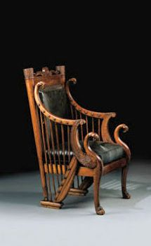 A fauteuil with harp and eagle motifs, early 19th century. $47,342.
