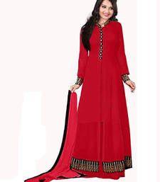 Red embroidered georgette salwar semi stitched salwar with dupatta