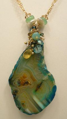 Agate Slice Necklace Chrysoprase Keshi Pearls by jmsdesignz, $75.00