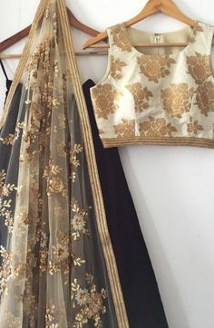 The Gold and Black Madison Lehenga Set - Daily Fashion Outfits Pakistani Dresses, Indian Dresses, Indian Outfits, Indian Attire, Indian Wear, India Fashion, Asian Fashion, Desi Clothes, Indian Clothes
