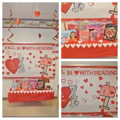 February bulletin board: Fall in love with reading. Cut out hearts, use on large bulletin board?