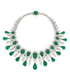 A Platinum, 18 Karat Gold, Emerald and Diamond Necklace, Bulgari, 1959