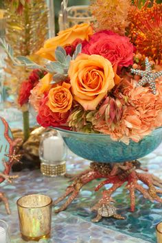 Ideas Wedding Fall Beach Pearl Flower For 2019 Candle Wedding Centerpieces, Wedding Decorations, Orange County, Pearl Beach, Sea Colour, Orange And Turquoise, Coral Pink, Cobalt Blue, Sea Theme
