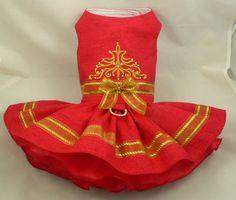 Dog dress. Christmas crystal filigree by Poshdog. Tutu skirt.