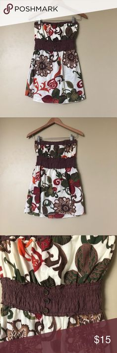 {Sugar Tart} Brown Floral Tube Top Gorgeous chocolate colored floral tube top with earthy tones. Elastic in the torso area for a stylish fit. Barely worn and in excellent condition. Sugar Tart Tops
