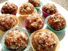"""Pacific Island """"Fudge"""" Babies: Dates, coconut flakes, macadamia nuts, dried pineapple, dried papaya, walnuts, vanilla, coconut butter.  These were inspired by Chocolate Covered Katie's Fudge Babies. GAPS legal!"""