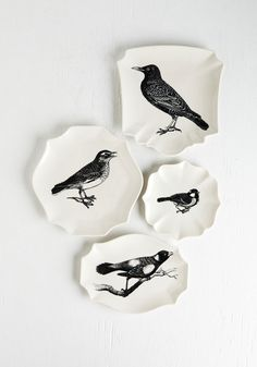 A Bite to Tweet Plate Set. Serve your hors d'oeuvres in high-flying style with these charming white and black plates. #white #modcloth