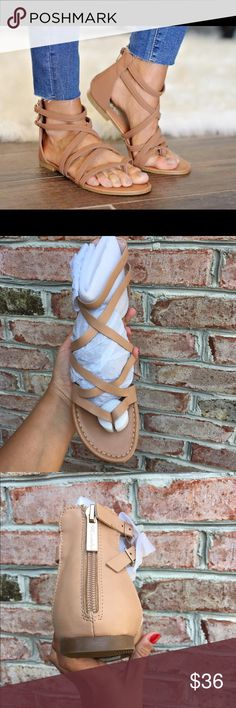 Beige Strappy Sandals A spring/summer wardrobe staple. A timeless natural beige color that matches anything! Fits true to size. Super comfy and chic. No trades. Fabfinfz Shoes Sandals