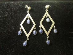 VINTAGE STERLING SILVER LARGE DANGLE EARRINGS WITH LAPIS
