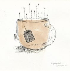 "teapetalsart: ""tea and me till death do us part. Tea Bag Art, Tea Art, Coffee Mug Drawing, Drawing Bag, Cute Easy Drawings, Illustration Techniques, Beginner Painting, Cute Mugs, Watercolor Techniques"