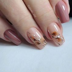 Nail Art Designs, Short Nail Designs, Acrylic Nail Designs, Acrylic Nails, Autumn Nails, Fall Nail Art, Elegant Nails, Stylish Nails, Cute Nails
