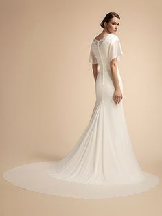 Moonlight is chic and romantic with its flutter sleeves and soft fitted chiffon skirt. Wedding Dresses Lds, Beaded Wedding Gowns, Wedding Dress Backs, Wedding Dress Sleeves, Bridal Gowns, Dresses With Sleeves, Lace Wedding, Wedding Dress Buttons, Mermaid Gown
