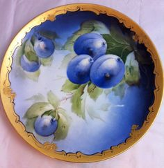 Hand Painted Haviland France, Pickard Plate Fruit and Floral Gold Art Nouveau