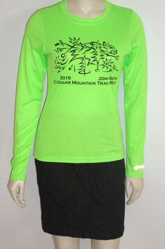 Brooks Long Sleeve Running Shirt sz SMALL Neon HI VIS Green COUGAR MT TRAIL RUN #BrooksforWomen #ShirtsTops
