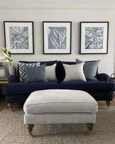 Navy Living Rooms, Cottage Living Rooms, Blue Rooms, Small Living Rooms, Living Room Sofa, Home And Living, Living Room Decor, Dining Room, Home Room Design