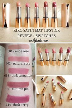 KIKO Velvet Mat Satin Lipsticks Full Review & Swatches Kiko Lipstick, Satin Lipstick, Lipgloss, Pink Lipsticks, Lipstick Colors, Liquid Lipstick, Lip Colours, Lipstick Swatches, Makeup Swatches