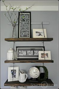 Step-by-step tutorial on how to make chain suspended  shelving.