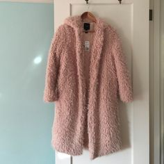 Blush Teddy Bear Coat Jacket Hoodie Like walking around wearing your softest stuffed animal 😊.  Got this after seeing a photo of Gigi Hadid wearing a blush shaggy coat.  Brand new, tags still attached.  I have too many coats, only selling because I'm doing spring cleaning and purging. Jackets & Coats