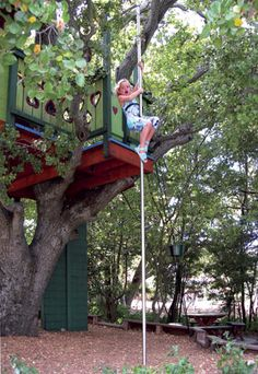 Barbara Butler-Extraordinary Play Structures for Kids-Playhouse in a Tree: 1st time down the firepole