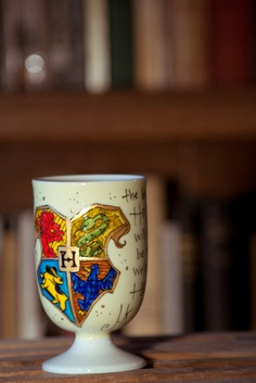 """Hogwarts Crest with J.K. Rowling Quote - """"Hogwarts will always be there to welcome you home"""" - Medium Lemon pedestal mug. $16.00, via Etsy."""