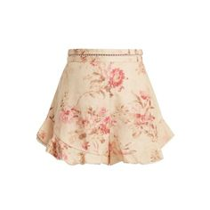 Zimmermann Corsair Flutter floral-print linen shorts (21.810 RUB) ❤ liked on Polyvore featuring shorts, cream multi, embellished shorts, floral shorts, floral print high waisted shorts, high waisted shorts and floral printed shorts