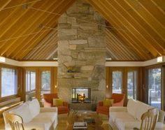 Indoor to outdoor fireplace