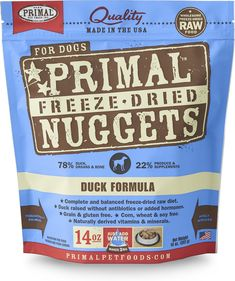 Primal Duck Formula Nuggets Freeze-dried Dog Food offers the convenience and benefits of a well-balanced, safe and wholesome raw-food diet without having to grind, chop, measure or mix it yourself. Only the freshest, human-grade ingredients are used, including real duck that's free of antibiotics, steroids and added hormones. Certified organic produce, certified organic minerals and unrefined vitamins are also incorporated to fortify this complete and balanced diet. The combination offers…