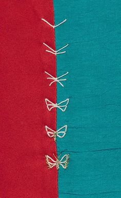 Embroidery Stitches Tutorial Step-By-Step How-to for the Butterfly seam Embroidery Stitches Tutorial, Embroidery Techniques, Embroidery Applique, Cross Stitch Embroidery, Embroidery Patterns, Machine Embroidery, Quilt Patterns, Viking Embroidery, Block Patterns