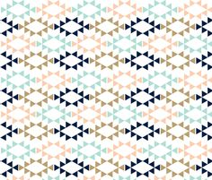 mint glitter navy aztec triangles fabric by charlottewinter on Spoonflower - custom fabric